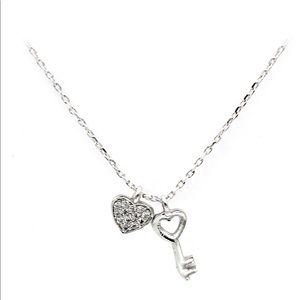 Sterling silver simple love crystal necklace